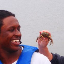 student with crab