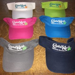 Embroidered Visors with Coastal Kayak & Turtles
